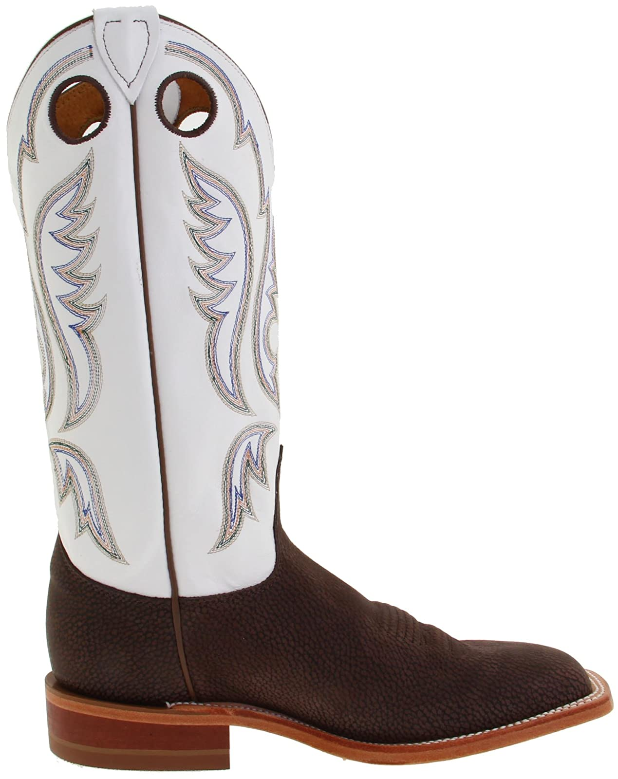 Justin Boots Men's U.S.A. Chocolate Bisonte/White Classic - 6