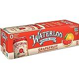 Waterloo Sparkling Water Grapefruit Fruit Flavor 12 Cans (Pack of 1)   Zero Calorie   Zero Sugar   Zero Sodium   Zero Calorie
