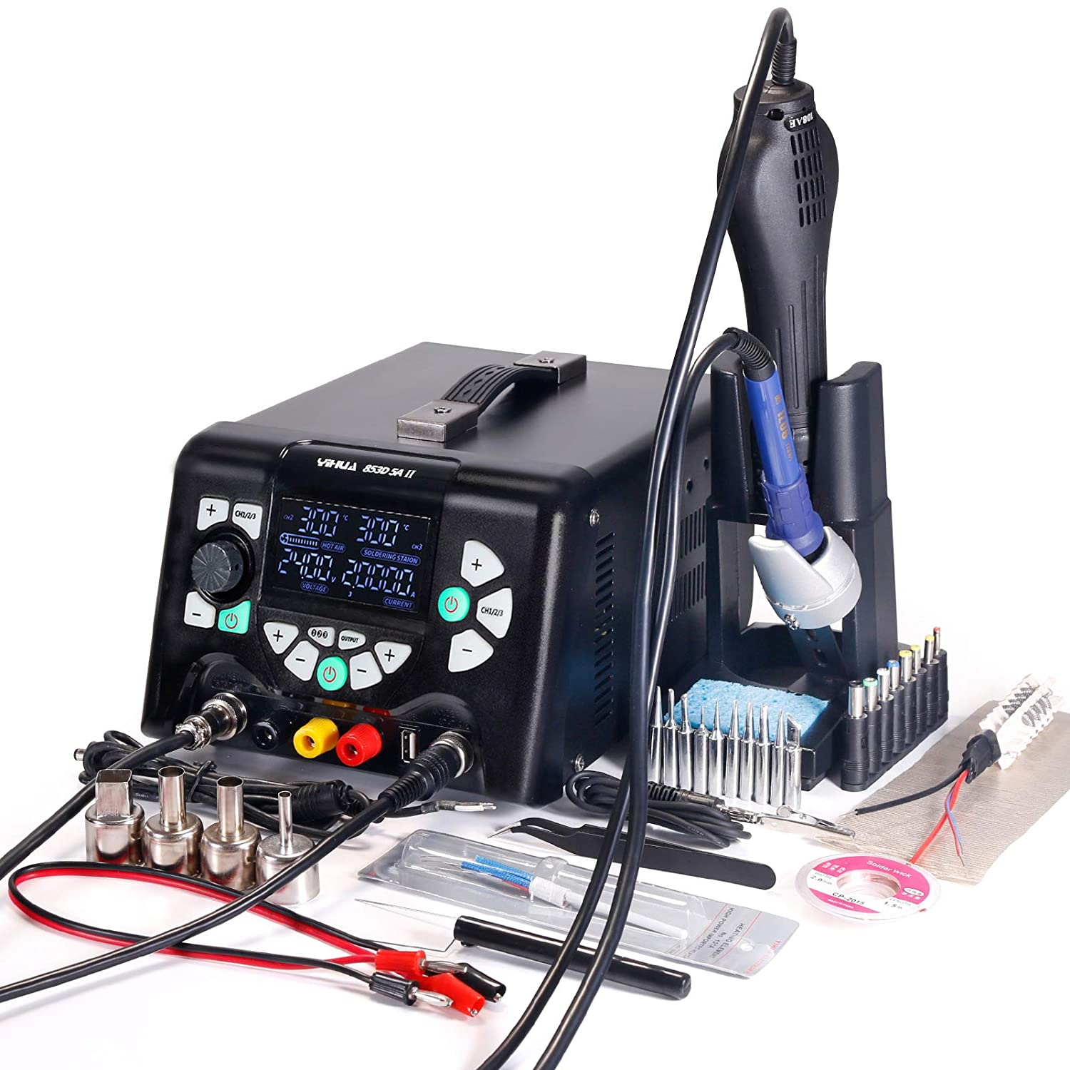 YIHUA 853D 5A-II 4 in 1 Hot Air Rework Soldering Iron Station and DC Power Supply 30V 5A -°F /°C Multiple Functions