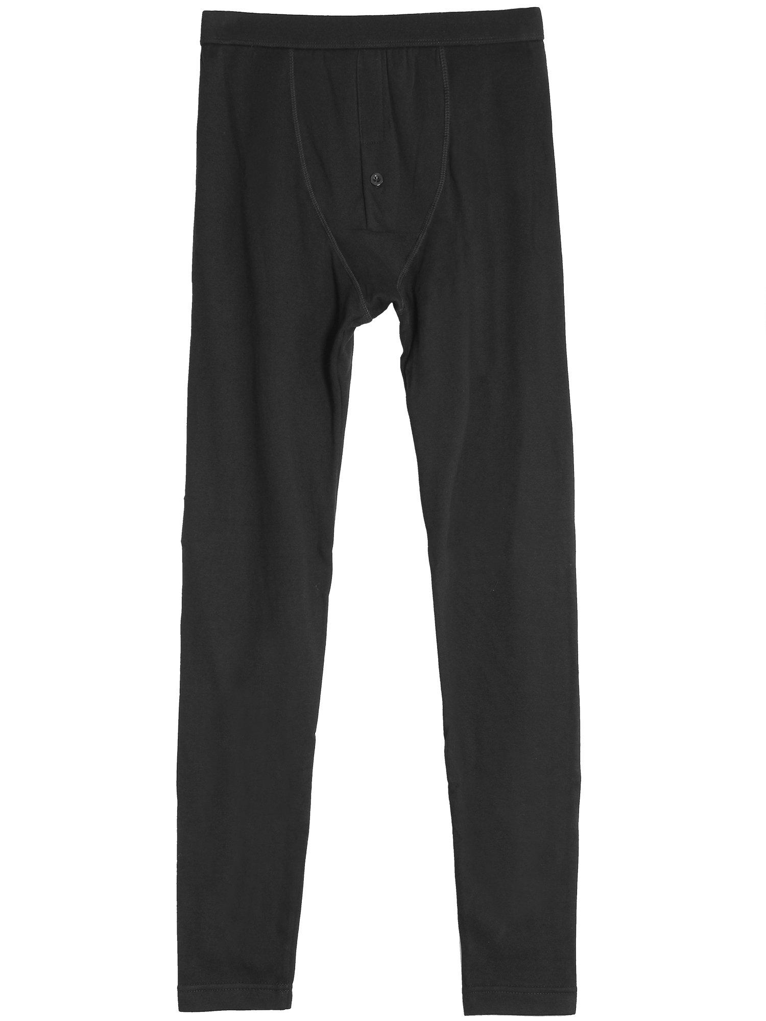 Godsen Men's Classic Thermal Pants Long Johns Bottom/Legging (L, GW01-Black)