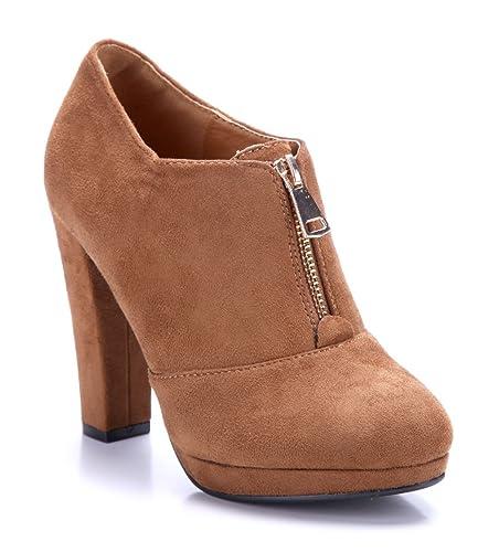 013ee29c275cdb Schuhtempel24 Damen Schuhe Ankle Boots Stiefel Stiefeletten Camel  Trichterabsatz 11 cm High Heels