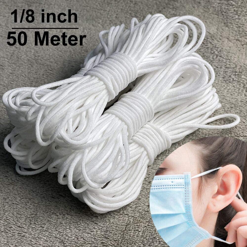 Amazon Com 1 8 Inch Elastic For Sewing Toovren 3mm Soft Round Elastic Cord For Mask 54 Yards Thin Elastic String
