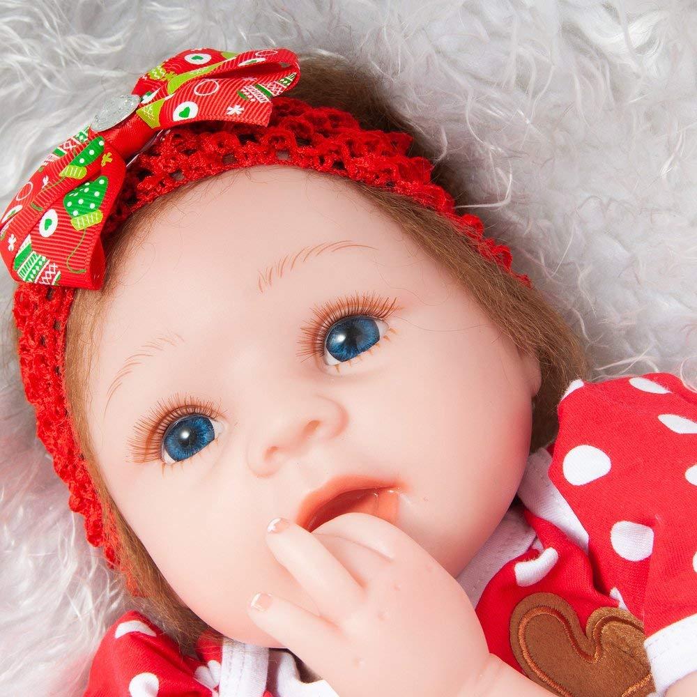 Erduo 55 cm silikon Reborn Baby Baby Baby Puppe Spielzeug lebensechte weichen Tuch körper Weihnachten Hirschkopf dekor neugeborenen Puppe Geburtstagsgeschenk - MultiFarbe 4ca2fa