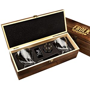 Whiskey Bullet Stones Premium Gift Set By Frolk, Set Of 6 Extra Large Stainless Steel Whiskey Stones, 2 Large Twisted Whiskey Glasses (11 oz), Freezer Base, Velvet Pouch & Tongs In Novelty Wooden Box