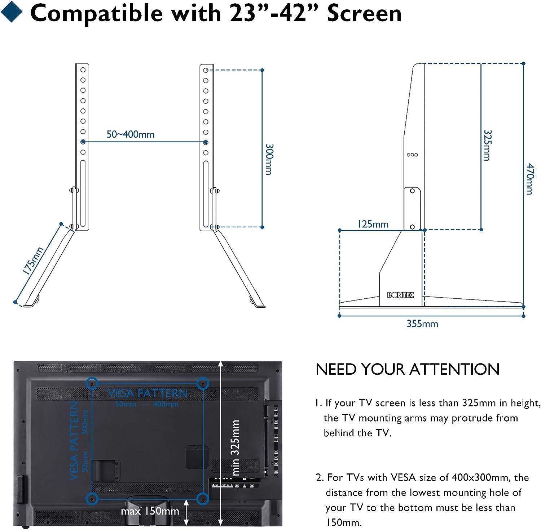 BONTEC Soporte TV Ruedas Mesa TV 23-42 Pulgadas Plasma/LCD/LED Soportes TV de Pie para Pantalla Plana Móvil Carro de Exhibición Trole, Máx. VESA 400x400 mm: Amazon.es: Electrónica