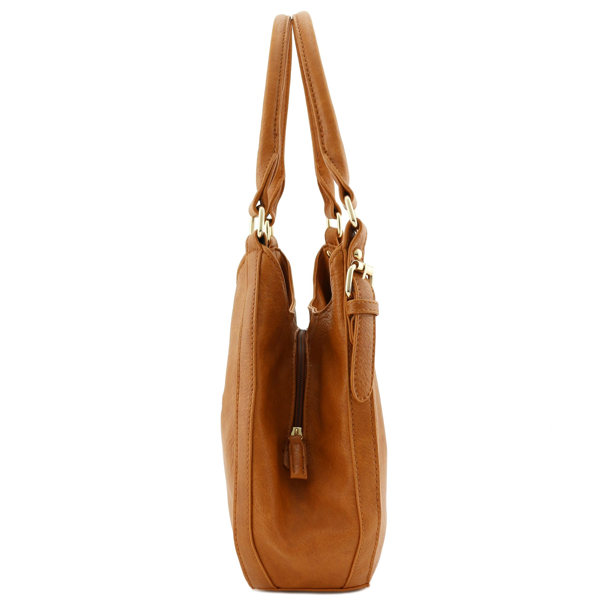 Light-weight 3 Compartment Faux Leather Medium Hobo Bag Tan by FashionPuzzle (Image #3)