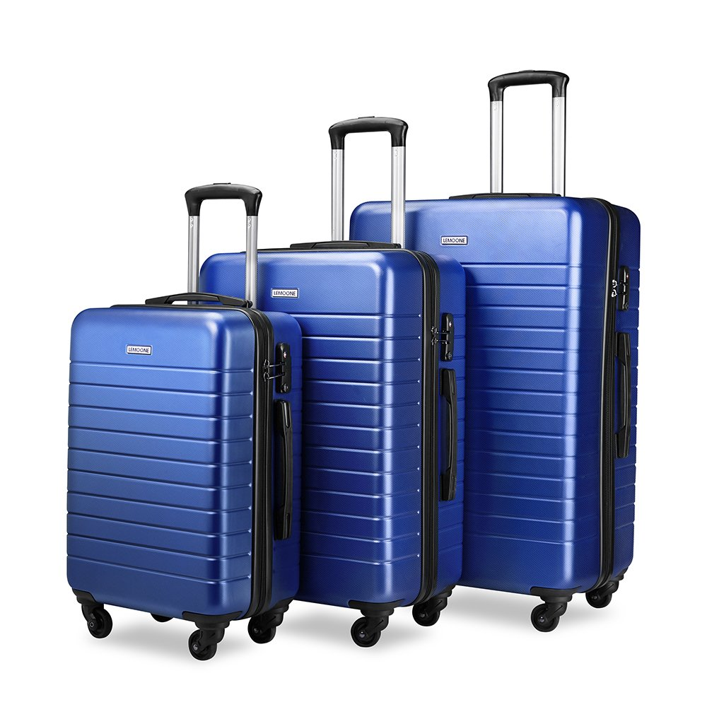 Luggage Set Spinner Hard Shell Suitcase Lightweight Carry On - 3 Piece (20'' 24'' 28'') (Blue) by LEMOONE