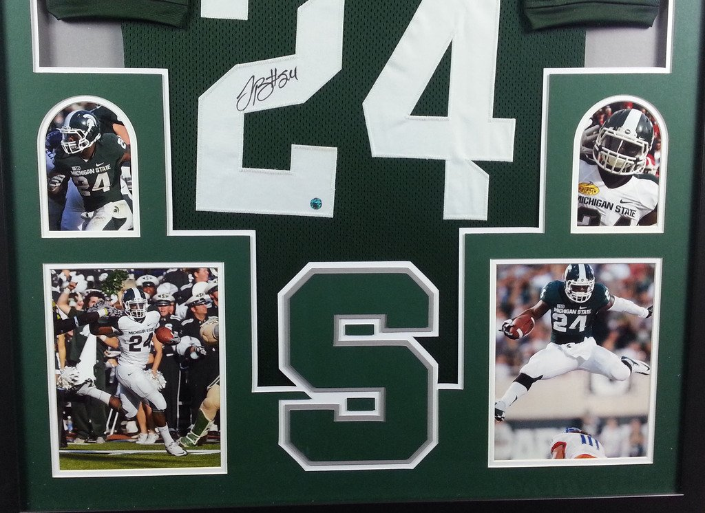 f9ea18b270e9 LeVeon Bell Michigan State Spartans Autograph Signed Custom Framed Jersey  TSE Sports 4 Picture Certified at Amazon s Sports Collectibles Store
