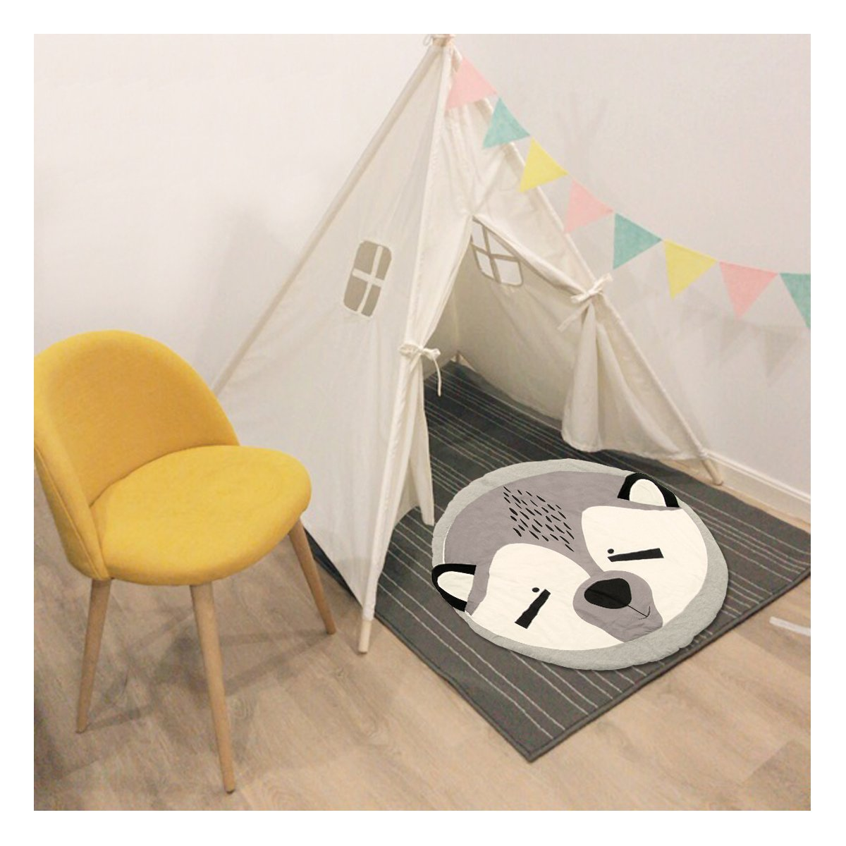 Jeteven Kids Rug Baby Nursery Crawling Mat Round Carpet Cartoon Animal Design Racoon Dia.90cm/35.4in
