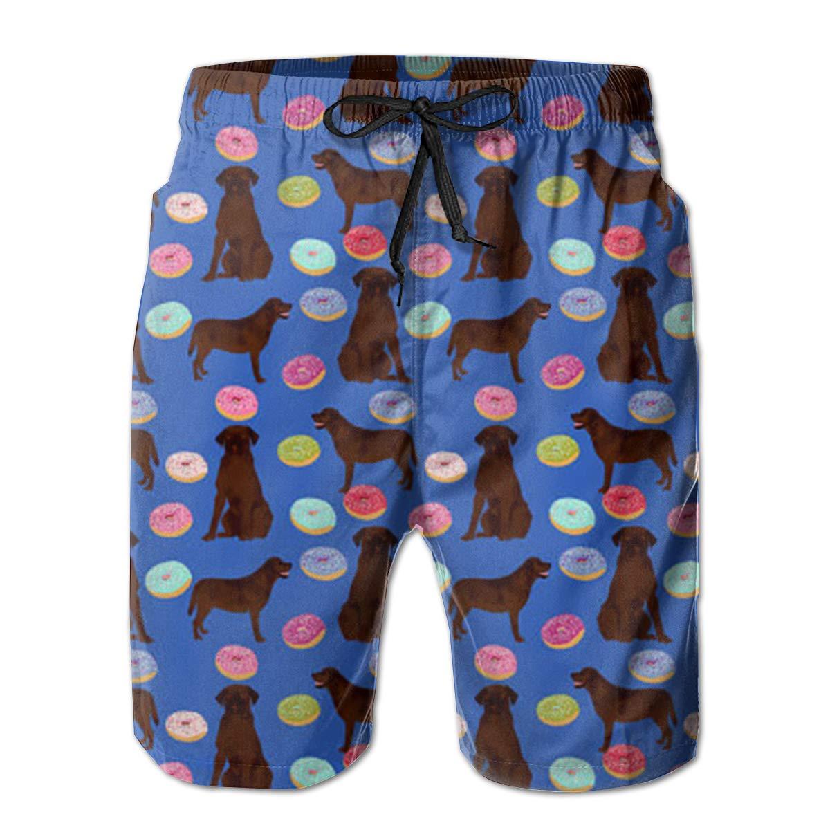 FUNSTYEET Chocolate Labrador Mens Board Shorts Swim Mesh Lining and Side Pocket