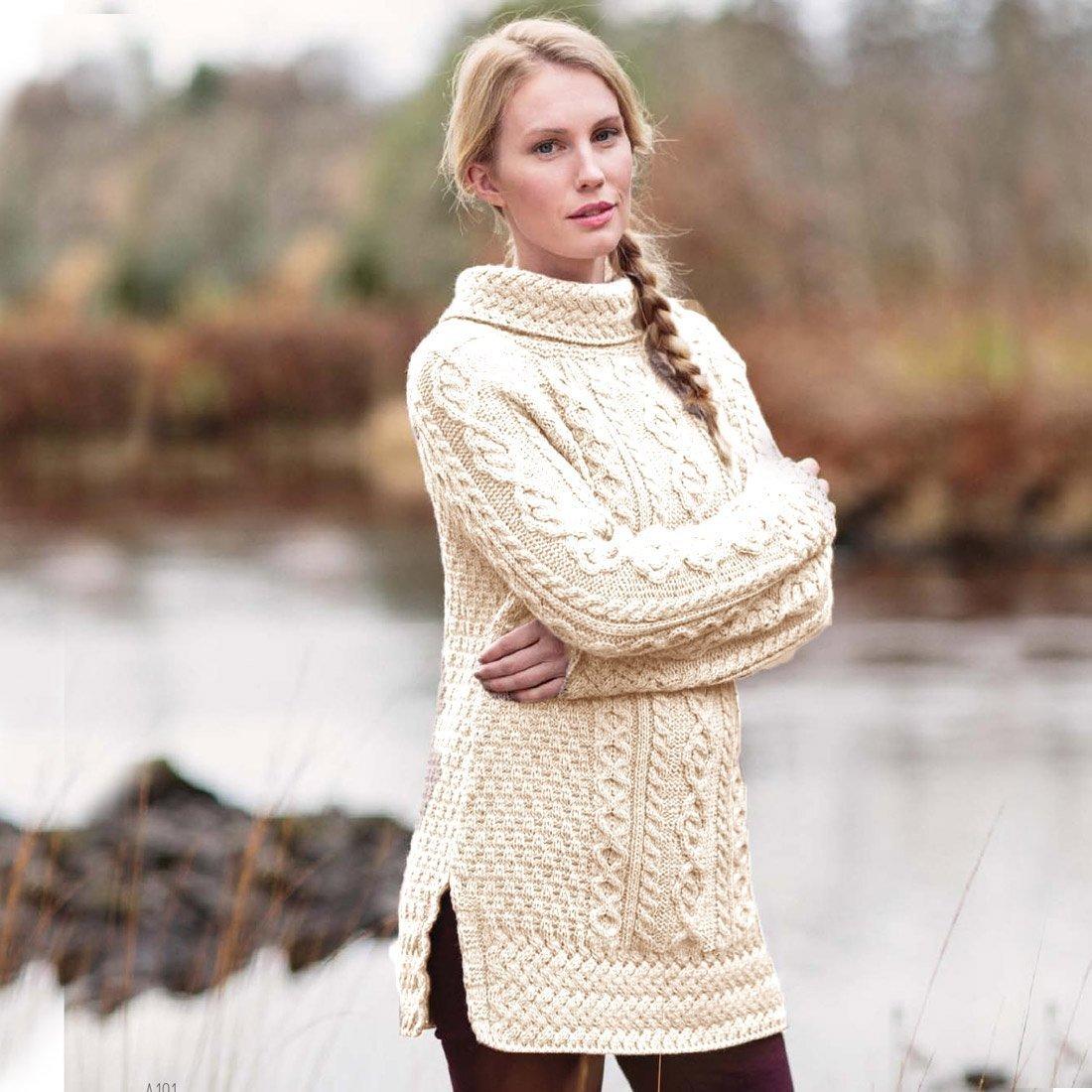 Carraig Donn Ladies 100% Merino Wool Vented Roll Neck Jumper, Natural Colour by Carraig Donn