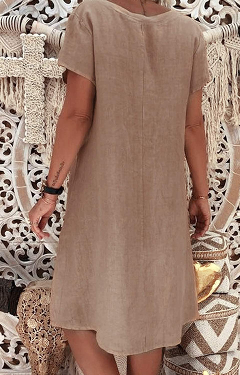 Yidarton Womens V Neck Summer Dress Short Sleeve Casual Midi Dress Chic Vintage Ethnic Sundress Solid Color Loose Linen Dress Without Accessories