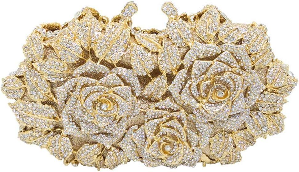 女性のためのレディース宴会パーティードレス結婚式のイブニングバッグ合金ラインストーンクリスタルローズフラワースタイリングクラッチバッグストロークショルダーチェーンバッグ財布 女性女の子 (色 : Gold)