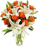 Benchmark Bouquets Orange Roses and White Oriental Lilies, With Vase, 1 Pound