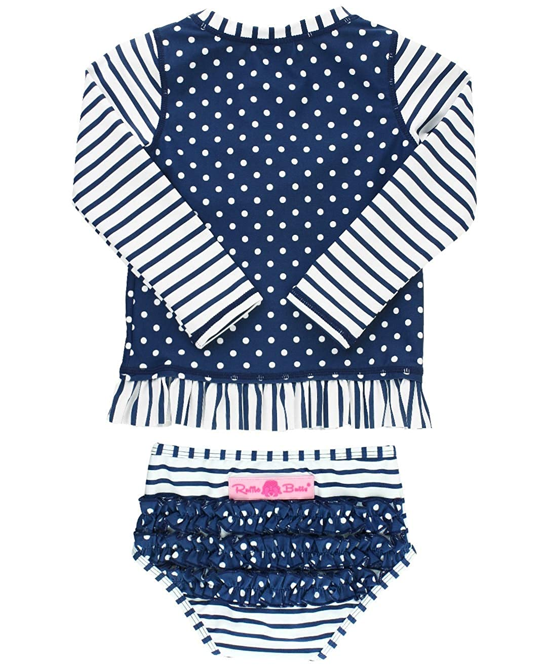 RuffleButts Baby//Toddler Girls Long Sleeve Rash Guard 2-Piece Swimsuit Set Stripes Polka with UPF 50 Sun Protection RGSYYXX-LSP2-SC-BABY