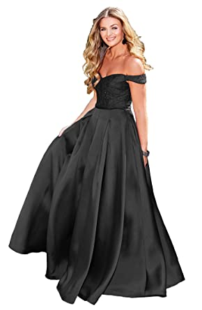 5493c734a5db Women s Off The Shoulder Satin Formal Ball Gown Long Lace Bodice Evening  Dress Size 2 Black