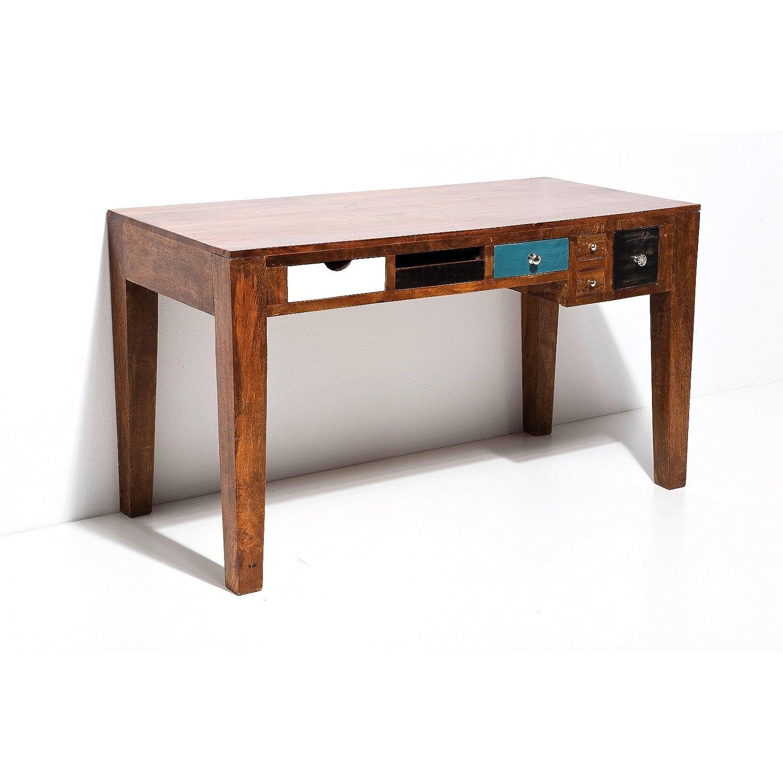 schreibtisch india massiv holztisch 135 cm bunte schubladen g nstig bestellen. Black Bedroom Furniture Sets. Home Design Ideas