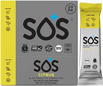 SOS Hydration Electrolyte Powder Mix, Citrus, 5g - Pack of 20