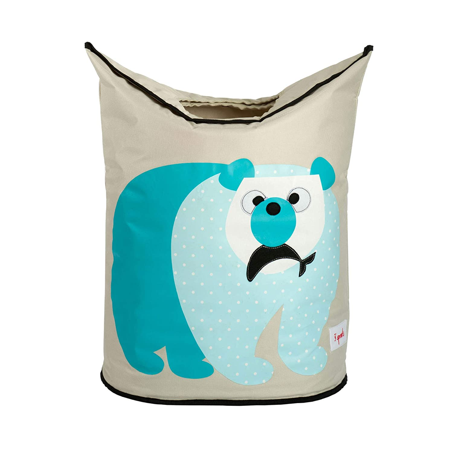 3 Sprouts Baby Laundry Hamper Storage Basket Organizer Bin for Nursery Clothes, Polar Bear