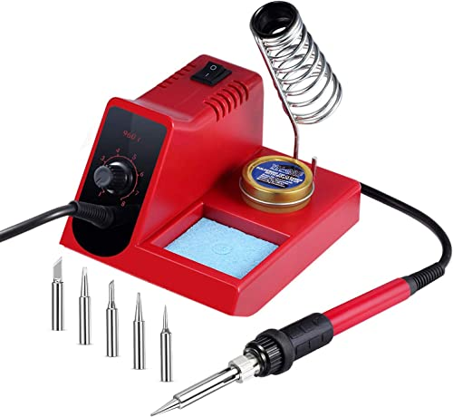 60W Soldering Iron Station, 8 Level Adjust Temperature Control, Ergonomic Soldering Iron, Solder Holder, 5 pcs Different Tips and Brass Tip Cleaner 960D