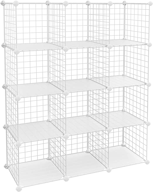 SONGMICS Wire Storage Cubes 20-Cube Modular Rack 48.4 L x 12.2 W x 60.2 H Storage Shelves Black ULPI45H 48.4 L x 12.2 W x 60.2 H PP Plastic Shelf Liners Included