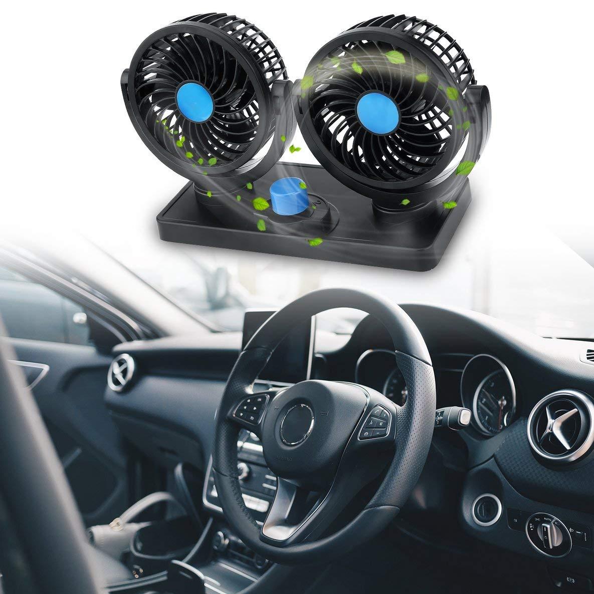 360 Grados Rotativo Doble Dirigido Ventilador de Coche Eléctrico de Dos Velocidad 12 V Vehículo Tablero de instrumentos Ventilador Aire Acondicionado ...