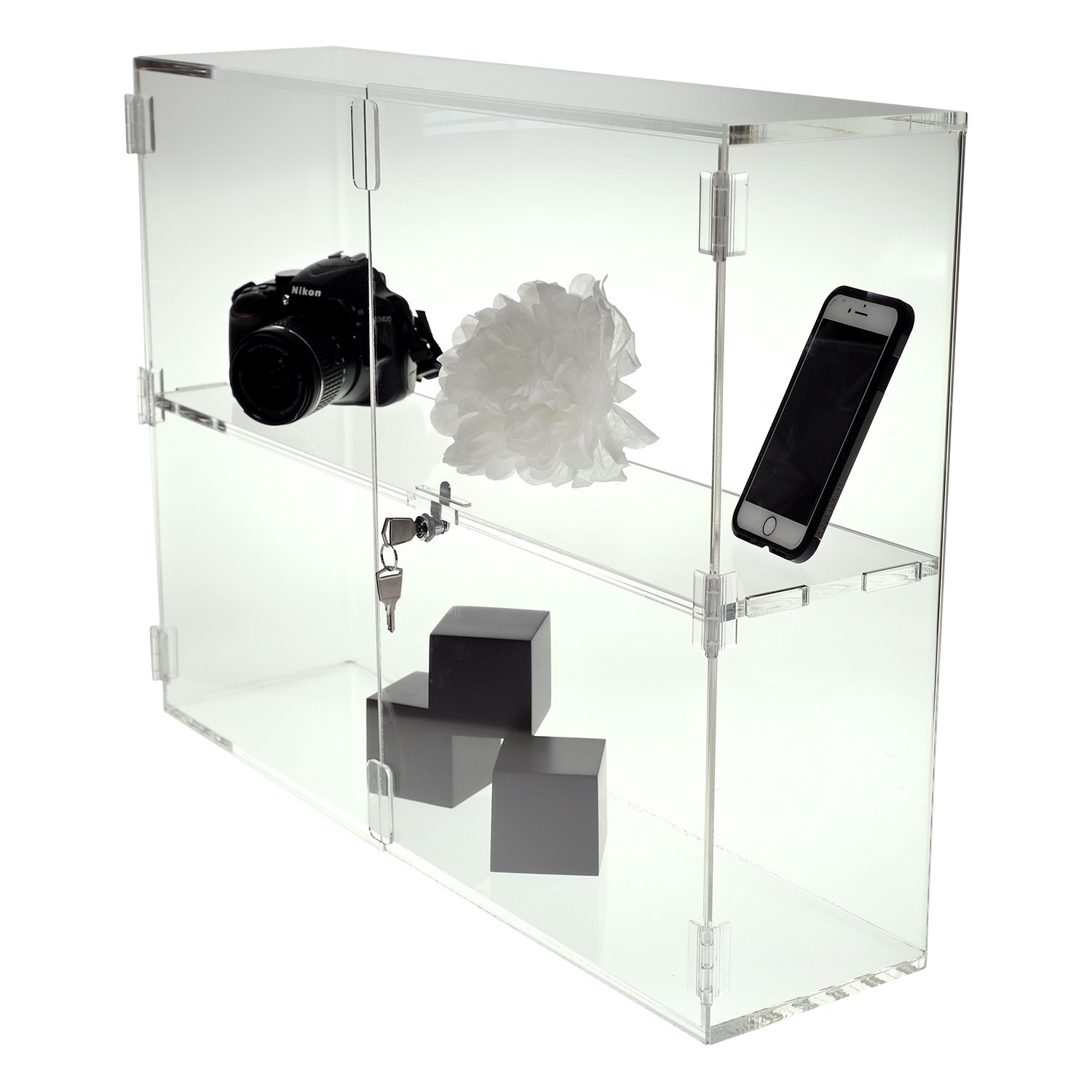 SOURCEONE.ORG Source One Deluxe Clear Acrylic Shelf Countertop Organization Display Case (Small, 1 Shelf)