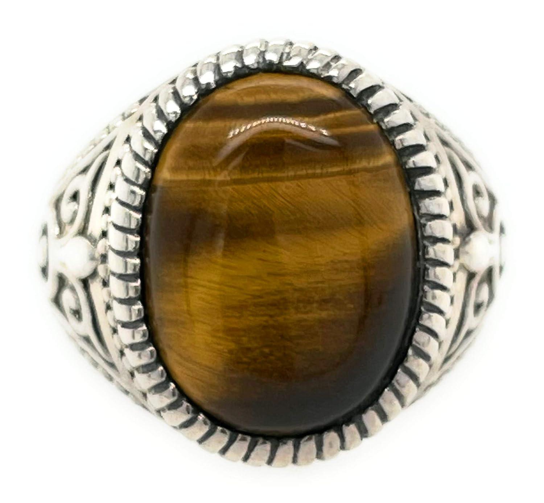 Solid 925 Sterling Silver Natural Tiger/'s Eye Gemstone Handmade Silver Rings