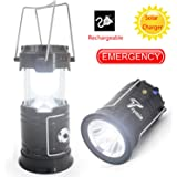 Rechargeable LED Camping Lantern, Trymie 3 in 1 Portable Outdoor Solar LED Tent Lamp Collapsible Handheld Flashlights with USB Power Bank for Fishing, Emergency, Hiking