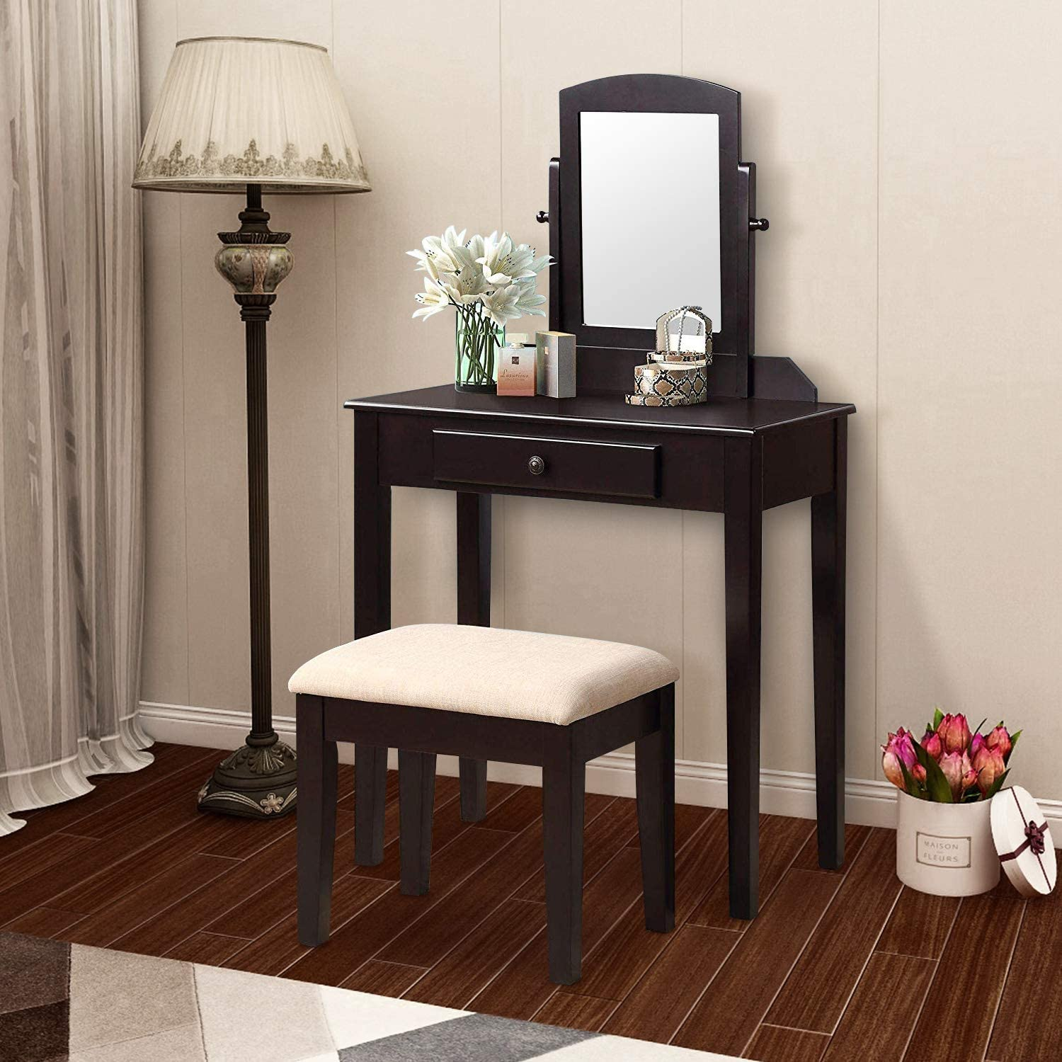 Harper Bright Designs Vanity Set with Mirror, Make-up Dressing Table with 1 Drawer and Cushioned Stool for Women Espresso