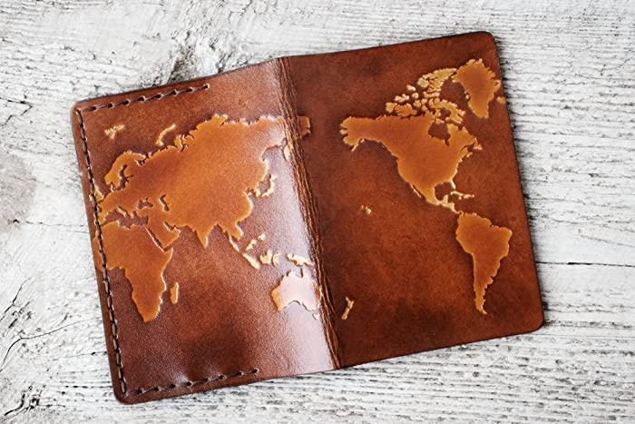 Amazon.com: Leather Passport Cover World Map Travel Wallet: Handmade