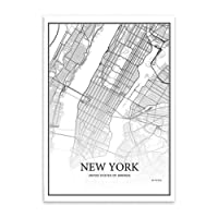 Morza New York Senza cornice pittura murale World City Map Poster in bianco e nero