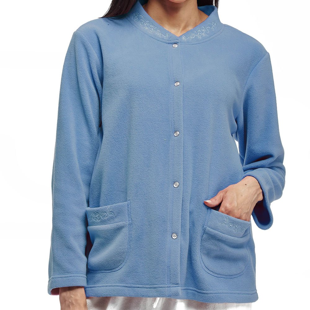 La Cera Women's Snap Front Fleece Bed Jacket