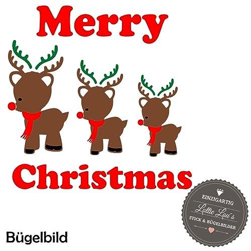 Frohe Weihnachten Glitzer.Bügelbild Aufbügler Frohe Weihnachten Merry Christmas Rentier