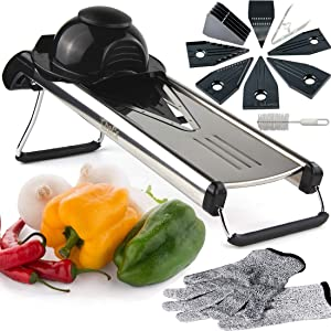 Chef's INSPIRATIONS Premium V-Blade Mandoline Slicer, Cutter, Julienne and Grater. Best For Slicing Food, Fruit and Vegetables. Includes 6 Inserts, Cleaning Brush, Blade Safety Sleeve. Stainless Steel