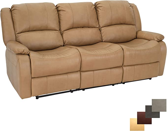RecPro Charles Collection Triple Recliner RV Sofa Drop Down Console