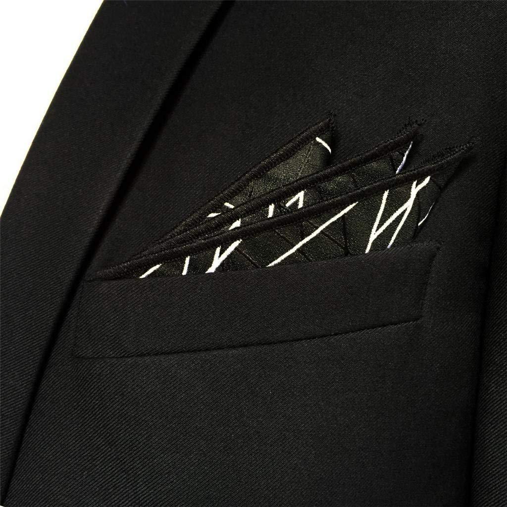 S/&W SHLAX/&WING Mens Pocket Square for Wedding Black White Geometric Large 12.6