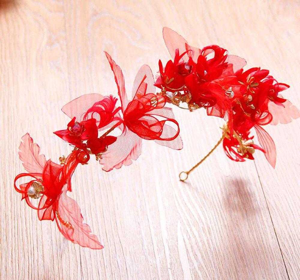 KHSKX-Vestido De Novia Coreana Aro Tocado De Flores Rojas Flor ...