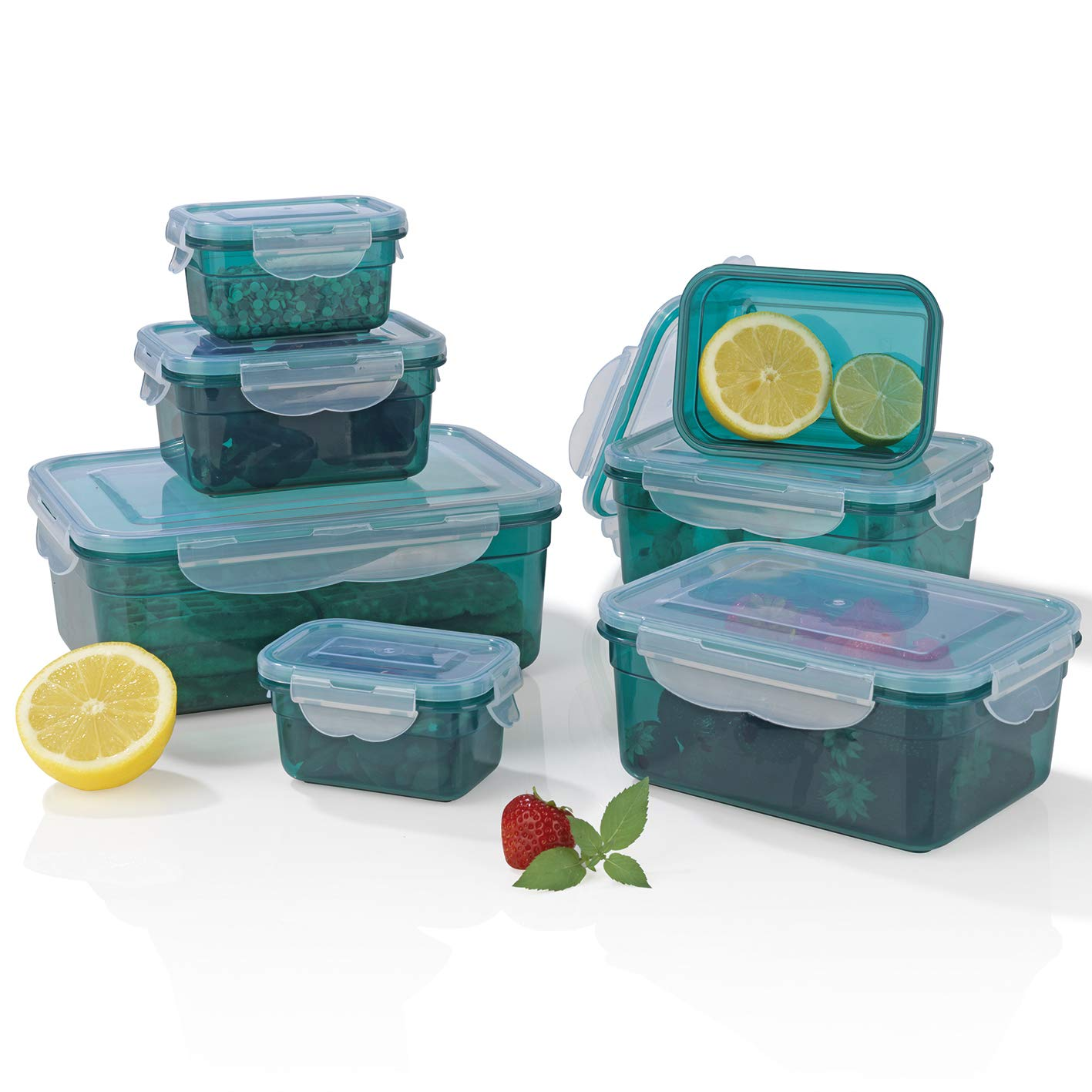GOURMETmaxx 02914 BPA-Free Food Storage Container-Set, 14 Pieces   Suitable for Dishwasher, Freezer, Microwave   Clip Lid Food Container   Air tight, liquid proofed and Aroma Safe TV Top Ventes