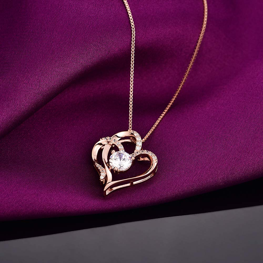 87123ecdbbd Jewelry Heart Necklace 14K Gold Plated 5A Cubic Zirconia Pendant Necklaces  for women VAN RORSI MO 80182