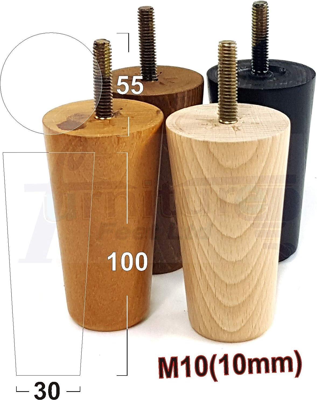10 mm 4x Meuble en bois pieds de remplacement jambes Canapés chaises 100 mm haut M10