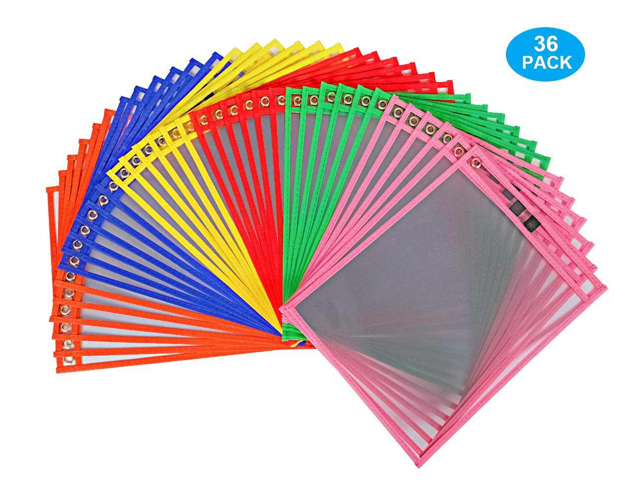 EasyPAG Reusable Dry Erase Pockets - 36 Pack 10 x 13 inch 6 Assorted Colors Clear Plastic Sleeves Protect Bag with Holefor for Classroom Organization,Teacher and School Supplies by EasyPAG