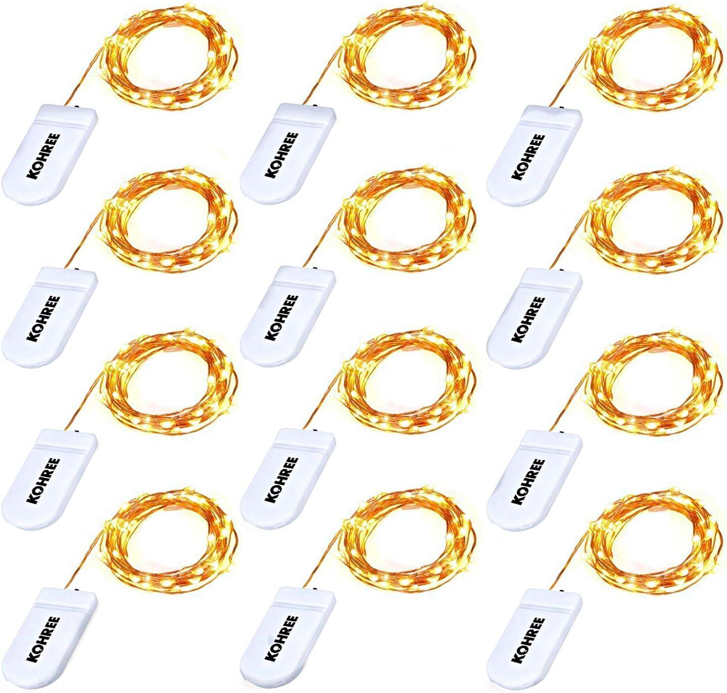 Kohree lot de 8 Guirlande Lumineuse /à Piles 20 LED 2M Fil Cuire D/écoration pour Mariage F/ête Jaune chaud Sapin de No/ël Maison Jardin