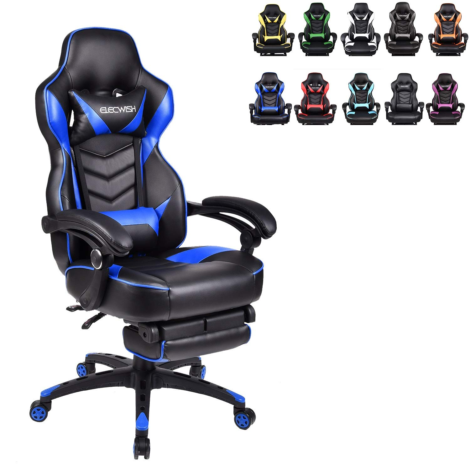 ELECWISH Ergonomic Computer Gaming Chair, PU Leather High Back Office Racing Chairs with Widen Thicken Seat and Retractable Footrest and Lumbar Support, Large, Blue by ELECWISH
