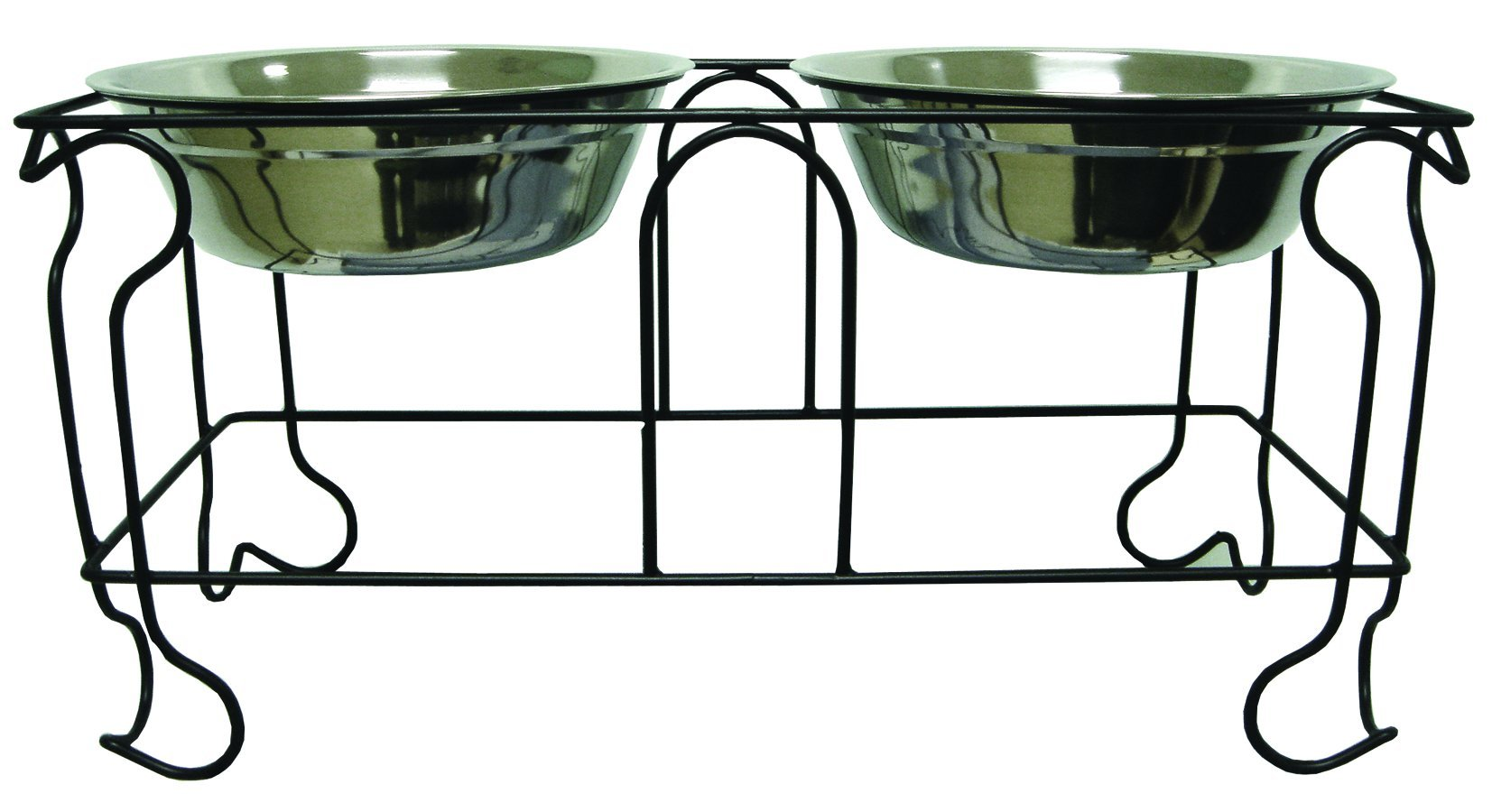 YML 10-Inch Wrought Iron Stand with Double Stainless Steel Feeder Bowls