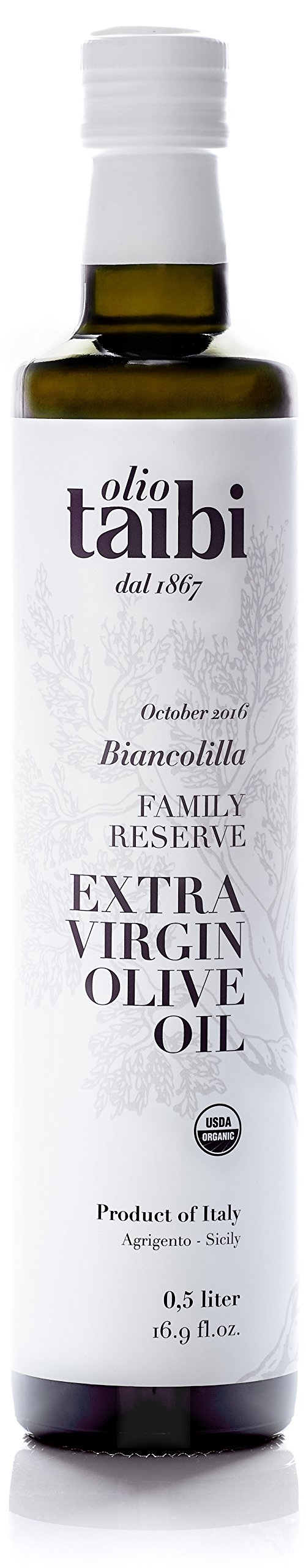 "NEW HARVEST OCTOBER 2017 Olio Taibi Award-Winning Organic Extra Virgin Olive Oil, Monocultivar ""Biancolilla"", Single Sourced Sicily, Italy, High Polyphenols, Unrefined, Large 16.9 Fl Oz"