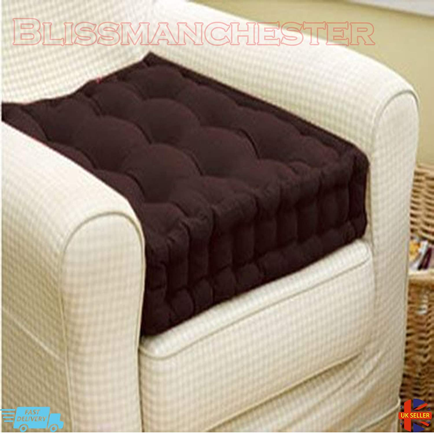 ADULT CHUNKY BOOSTER CUSHION 100/% COTTON CHAIR SEAT PAD FOR SOFA GARDEN MAROON
