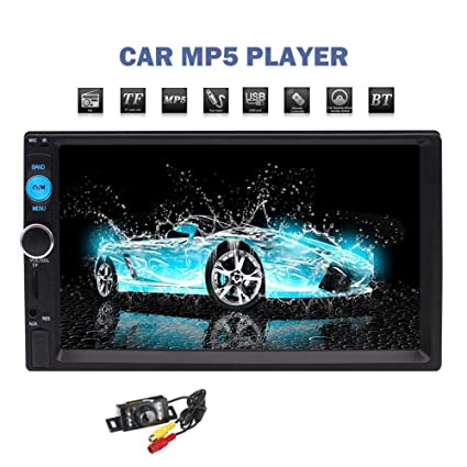 """7/"""" Touch Screen MP5 Player 2 Din Car Stereo Radio USB Head Unit+Backup Camera UK"""