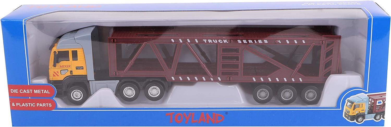 TOYLAND® Camión de Juguete y Remolque de 28 cm - Diecast - Modelos de Juguetes y vehículos - Diseños Variados (Camión de Transporte de Coches)