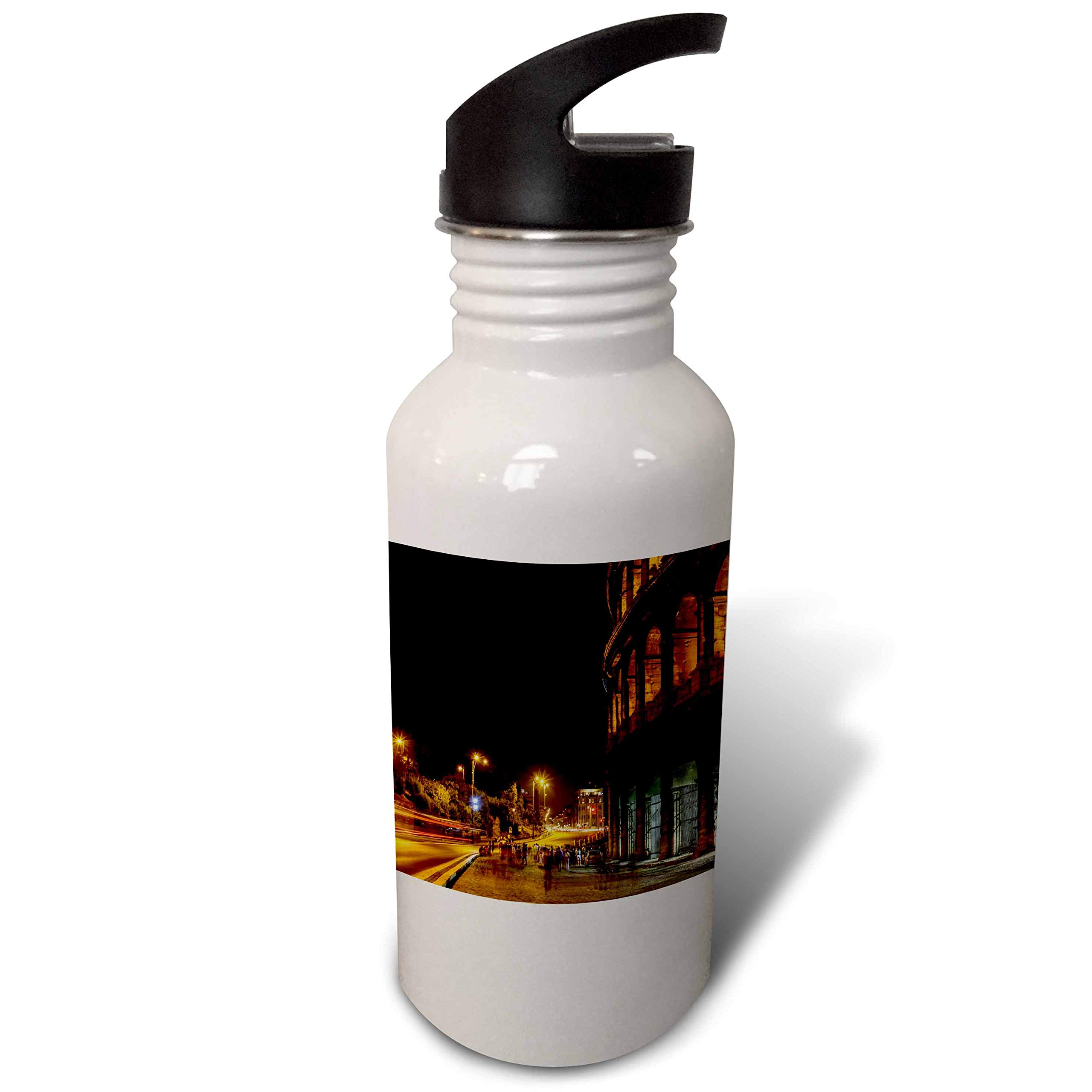 3dRose Elysium Photography - Cityscape - Colosseum at night, Rome, Italy - Flip Straw 21oz Water Bottle (wb_289613_2)